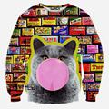 New! Autumn/Winter 3d sweatshirts hoodies men/women Personality Psychedelic glasses cat print fashion lady novelty animal hoodie