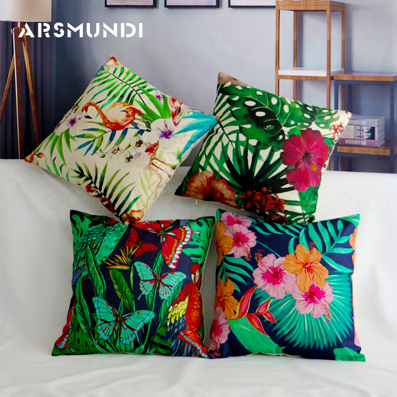 Vintage Flower Tropical Leaves Waist Pillowcase Cushion Cover Home Decoration for Sofa Car Seat Cushion Cover 45cmx45cm