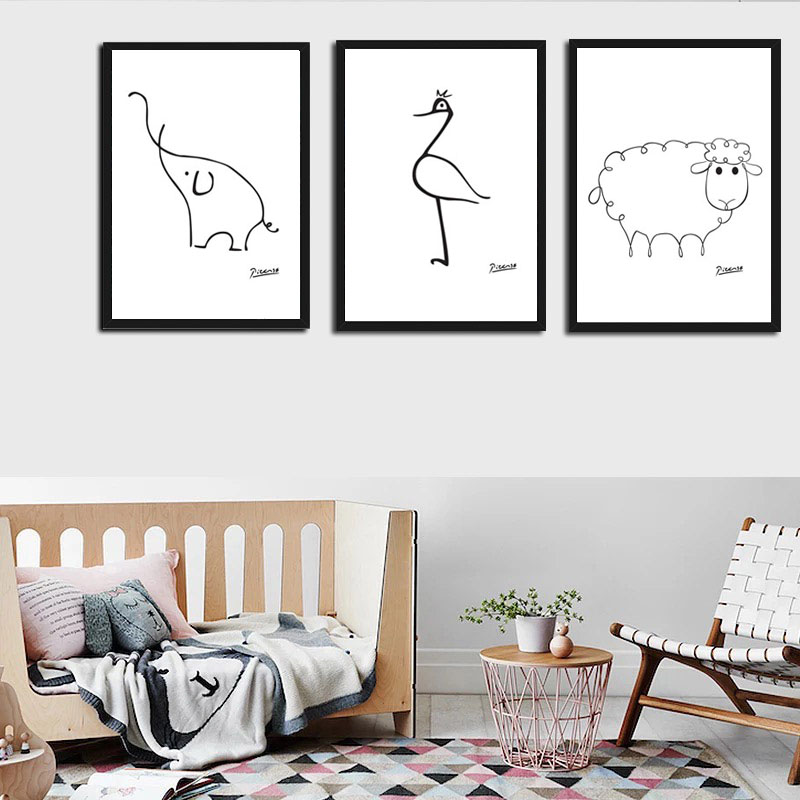 Minimalist Pablo Picasso Abstract Wall Art Canvas Prints Animals Printing Oil Poster Artwork Living Room No Frame Home Decor
