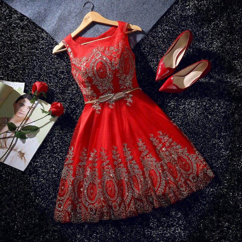 Elegant Evening Dress Short Beads Sashes Red Banquet Party Dress Stunning Tulle Prom Dresses Robe De Soiree Vestido De Festa
