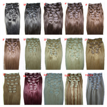 22inches 56cm 8Pcs 120g Natural Straight Remy Clip Light Blond 15 colors Free Shipping Gift Ring in clip