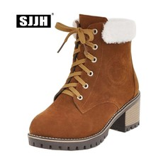 SJJH Women Flock Snow Boots with Round Toe Chunky Heels Ankle Lace-up Plush Boots Winter Fashion Casual Shoes Large Size A1381 все цены