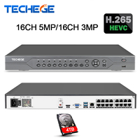 Techege 16CH 5MP POE NVR 48 В реального PoE NVR 5MP 3MP 4 К сети видео Регистраторы для PoE IP камеры P2P XMeye CCTV Системы Onvif FTP