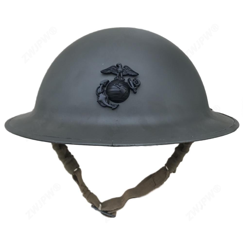 U S WW1 M1917 Helmet ZC49 with WW1 USMC badge Gray