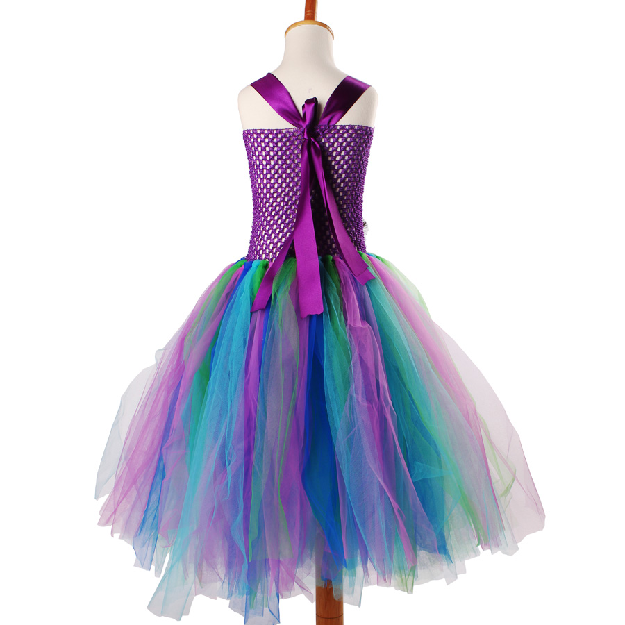 Peacock Flower Girl Tutu Dress Turquoise and Purple Tulle Wedding Dress Kids Purim Party Ball Gown Elegant Princess Prom Dress (10)