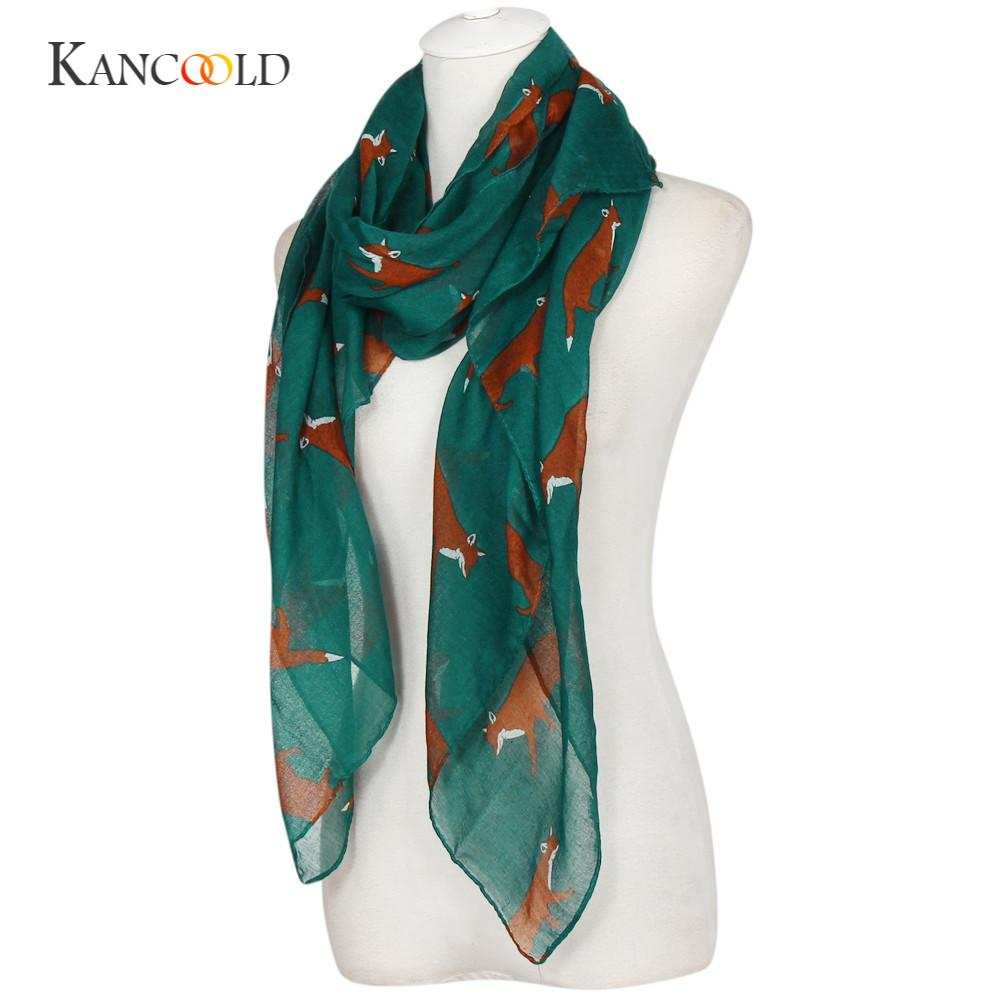 KANCOOLD socks women's fashionLady CasualWomens Long Cute Fox Print Scarf Wraps Shawl Soft Scarves gloves FEB13