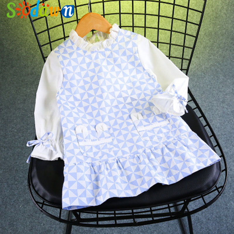 Sodawn 2017 Autumn New Children Clothing Girl Dress Cuffs Bowknot Long Sleeve Plaid Dress Baby Girls Clothes Princess Dress