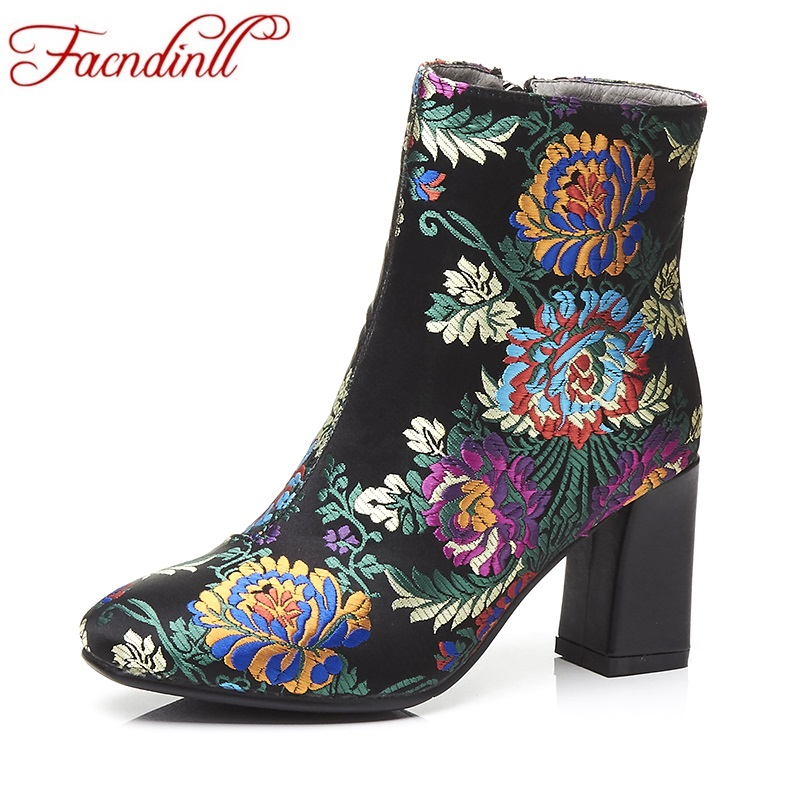 FACNDINLL fashion china style women ankle boots shoes high quality high heels round toe zipper autumn winter dress party boots european style autumn genuine leather fashion ankle boots round toe zipper belt buckle high heels motorcycle boots women boots