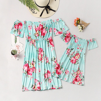 off shoulder mother mom and daughter dresses family matching outfits mommy and me clothes family look floral mum mama baby dress 1