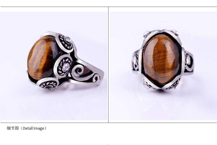 ธรรมชาติ Tiger eye โบราณแหวนเงินสีน้ำตาลรูปไข่การตั้งค่าออกแบบดอกไม้คริสตัล Vintage ผู้หญิงแหวนเครื่องประดับ