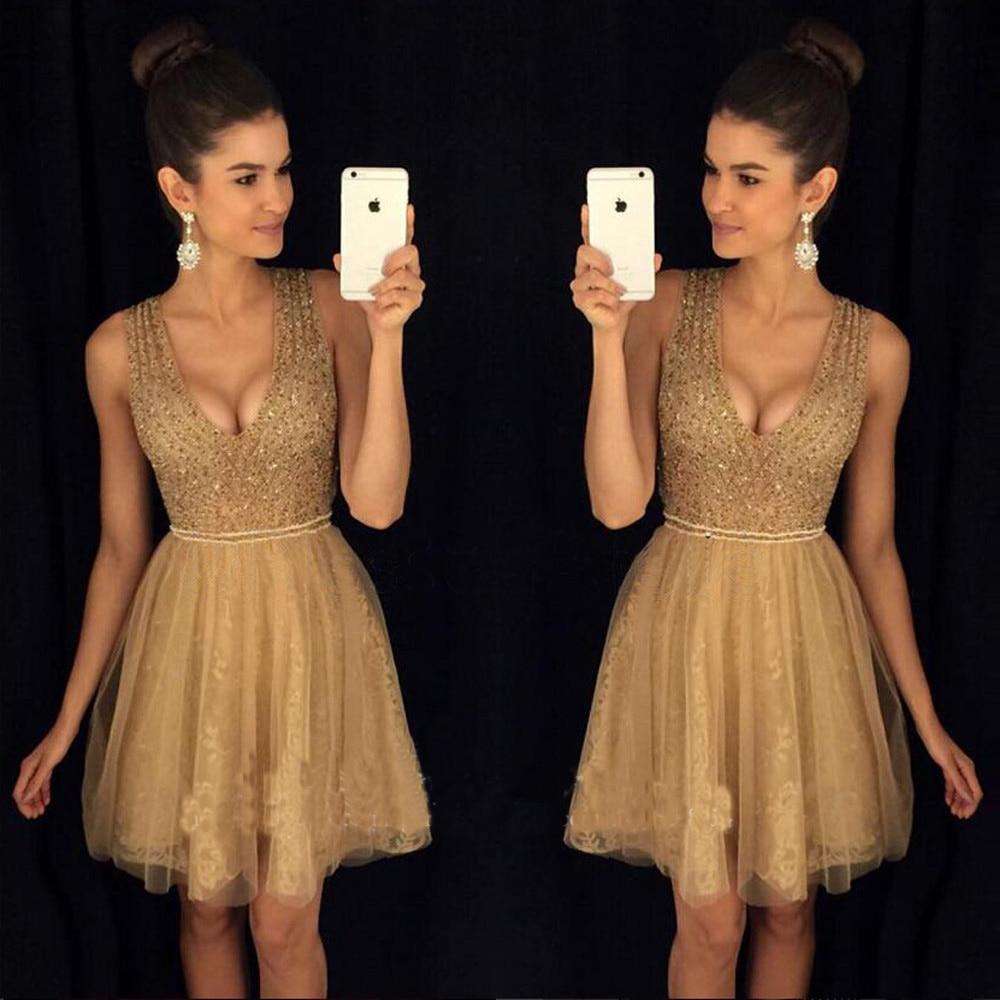 Hot Fashion Gold Beaded V-neck Short   Prom     Dress   Knee-Length Evening   dresses   Cocktail   Dresses   Robe de soiree Abendkleider 2019