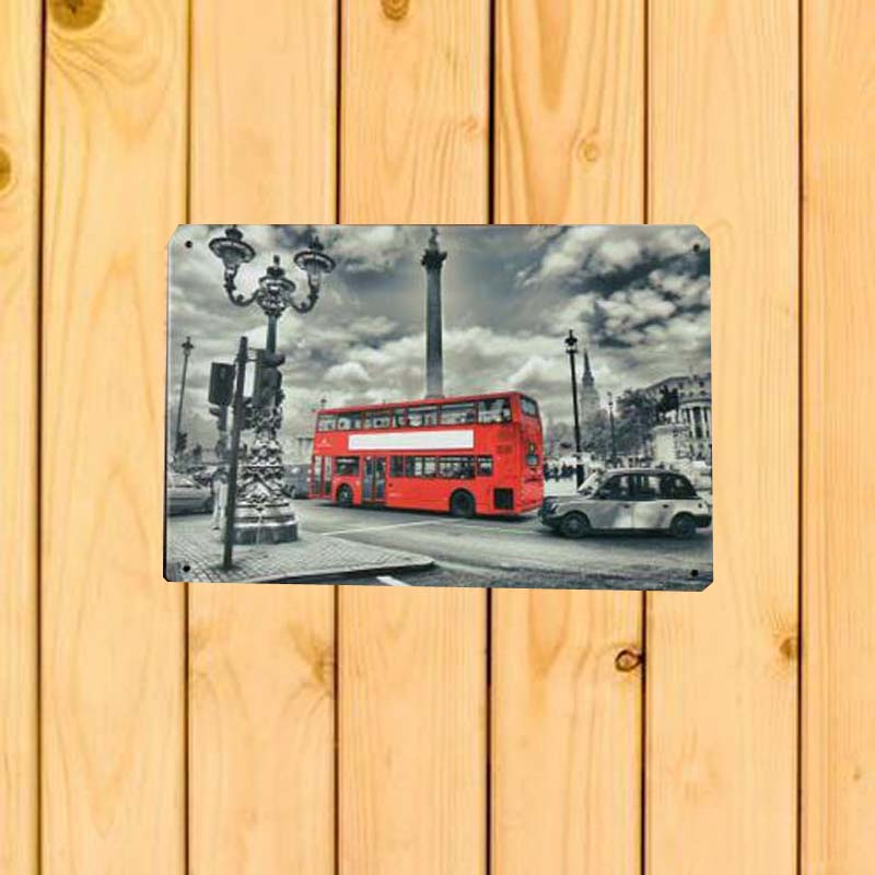 Red Double Decker Bus Hot Vintage Metal Signs Home Decor 20x30cm Tin Signs Picture Pub