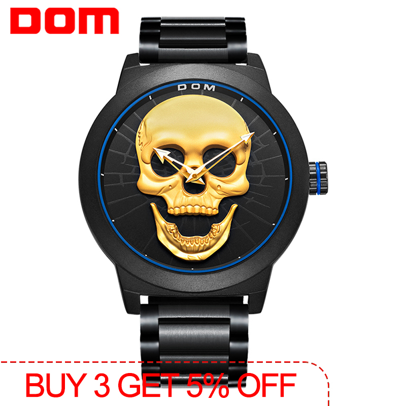 Men's Watch DOM Cool Bone Luxury Brand M-1231 Creative Clock Black Male Watch Skull Style Quartz Men Watches Relogio Masculino