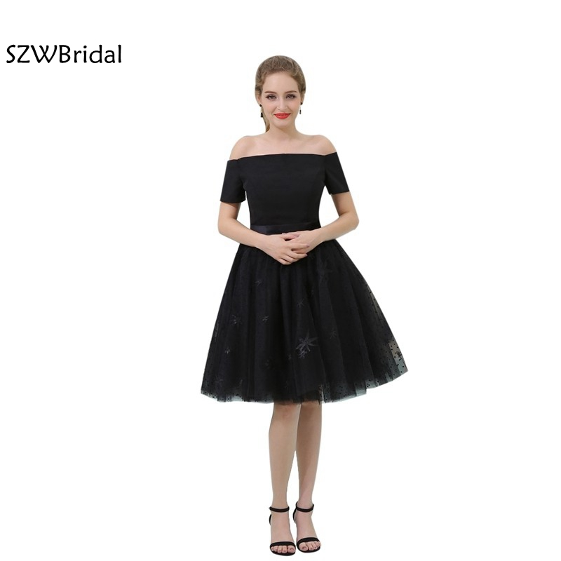 New Arrival Strapless Black   Cocktail     dresses   Short Sleeve Tea length Vestido de festa curto   Cocktail     dress   jurken