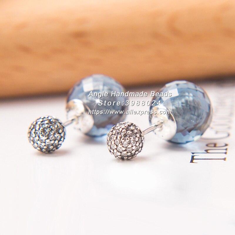 2017 Winter S925 Sterling Silver Shimmering Drops, Midnight Blue Crystals & Clear CZ Earrings For Women Fashion Jewelry Earrings
