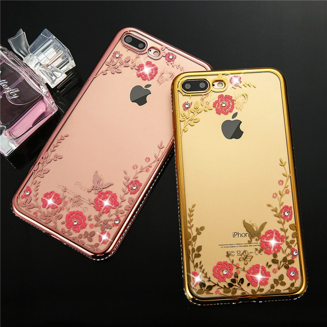 Luxury Flora Diamond Silicone Rose Gold Case For iPhone 7 7 Plus 6 6s Plus  SE 5 5s Flower Bling Soft TPU Clear Phone Back Cover c34631c831cdd