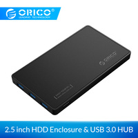 ORICO 2.5'' SATA to USB 3.0 Hard Drive Case with 3 Ports USB3.0 HUB UASP Tool Free with 5V2A Power Adapter SSD HDD Case