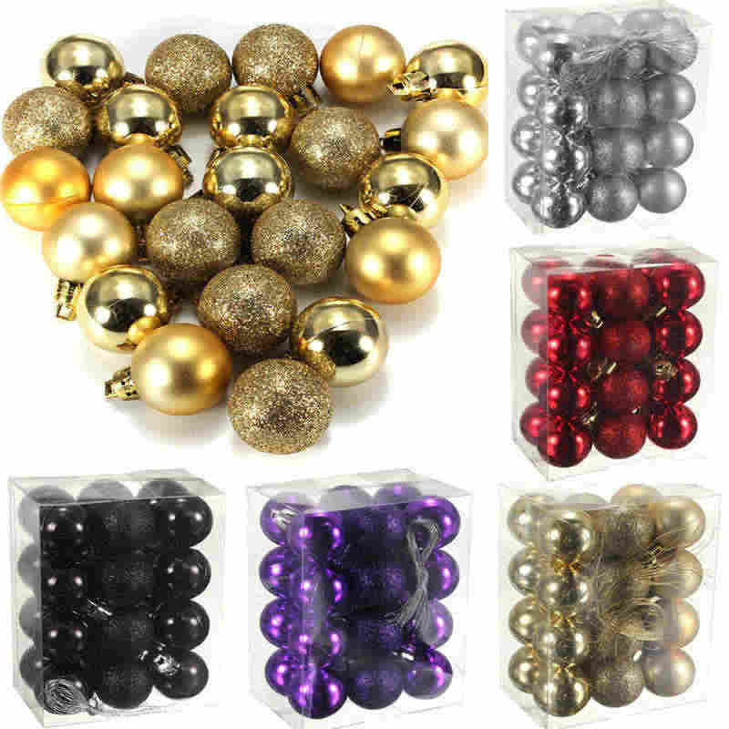 24 Pcs/Set 2018 New Arrivals Glitter Chic Christmas/Birthday/Wedding Baubles Ornament Ball Party Home Decor New Year 11 Colors