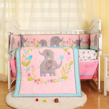 цена на 7pcs Girl Baby Bedding Set Elephant Flower Nursery Quilt Bumper Sheet Crib Skirt Baby Crib Bedding Set Baby Nursery Crib Bedding