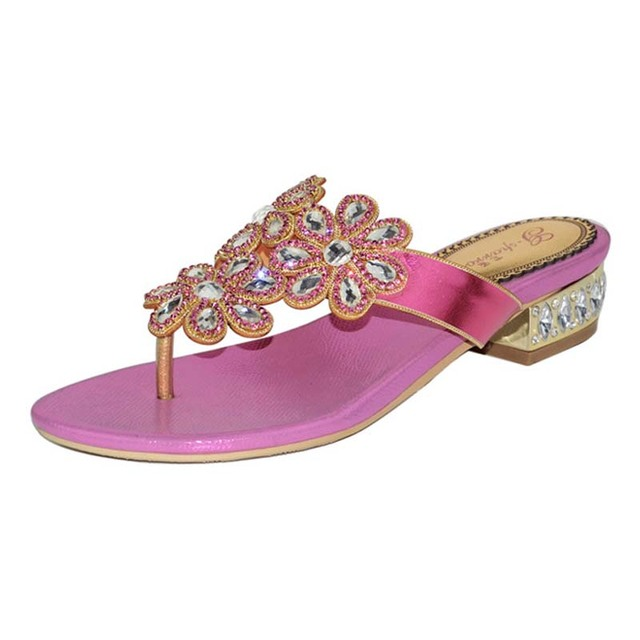 c643f95377a33 US $56.8 20% OFF|hot pink/gold women fashion luxury rhinestone flats heel  flip flops crystal flowers sandals comfortable slippers big size 34 44-in  ...