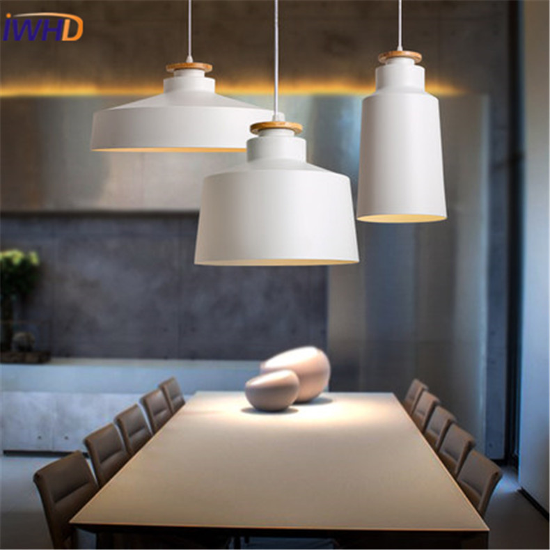 IWHD Nordic Style Iron LED Pendant Lights Modern Simple Cafe Room Bedroom Lighting Single White Black Hanging Lamp For Home modern iron pendant lights restaurant bar cafe led pendant lamp living room bedroom study hanging light industrial lighting