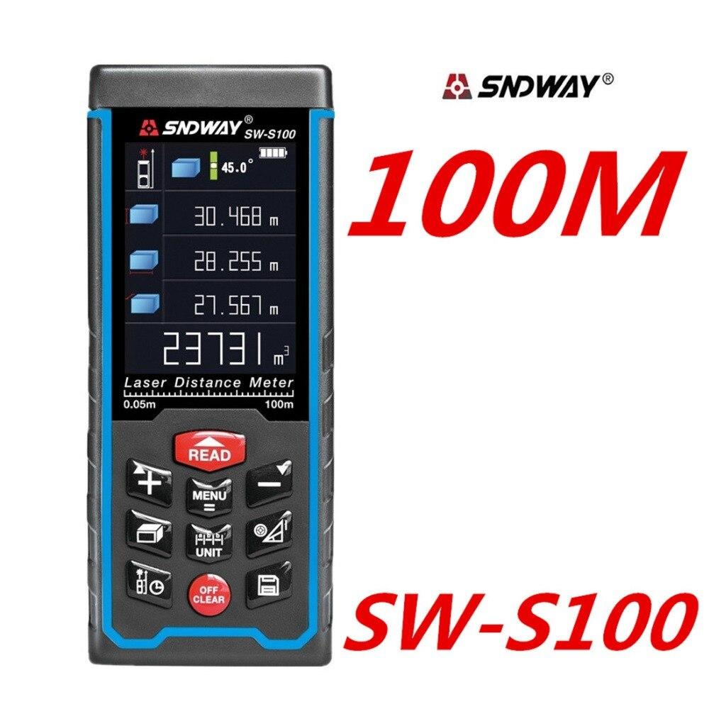 Medidor de distancia láser cinta láser telémetro 100 M 70 M 50 m Digital regla medida Ángel Rechargeabel SW-S100 SW-S70 Ft
