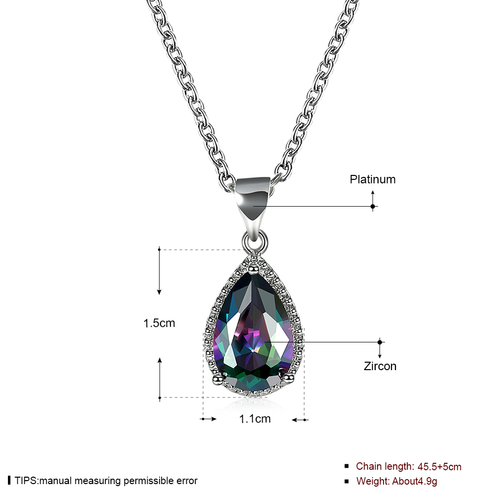 2b30f5951 water drop crystal pendant necklace for women engagement gift silver color  rainbow stone colorful fashion jewelry drop shipping-in Pendant Necklaces  from ...