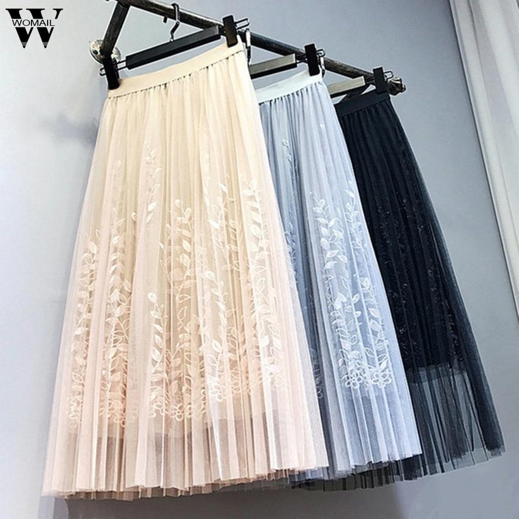 Womail Tulle Skirts Summer Fashion Womens Midi Pleated Skirt 2019 Korean Elastic High Waist Embroidery Leaf Tutu Skirt M523