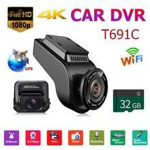 T691C Avant 4 K 2160 P + Arrière 1080 P FHD Dash caméra pour voiture caméra dvr + 32 GB TF Carte Exclusive modèle privé Tourné Up Lens ABS 2018 Nouveau