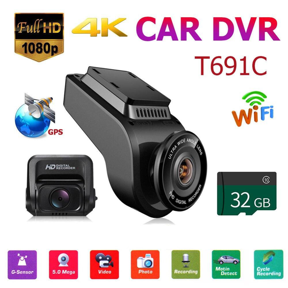 T691C спереди 4 к 2160 P + сзади 1080 FHD регистраторы dvr автомобиля камера 32 Гб TF карты эксклюзивный частная модель поворачивается объектив ABS 2018 Новы...