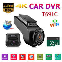 T691C Front 4K Dash Cam 2160P+ Rear 1080P FHD Dash Cam Car DVR Camera+32GB TF Card Exclusive Private Model Rotated Up Lens ABS