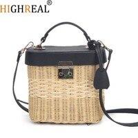 New Women Fahsion Straw Rattan Bag INS Popular Female Handmade Knitting Handbag Lady Weave Travel Shoulder Bag Braid Tote