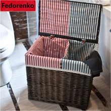 Large wicker rattan Laundry baskets natural rattan baskets with lid clothes storage box and bins covered home decor organizer storage baskets containers natural water hyacinth rectangular storage bins organizer box metal frame woven straw baskets panier