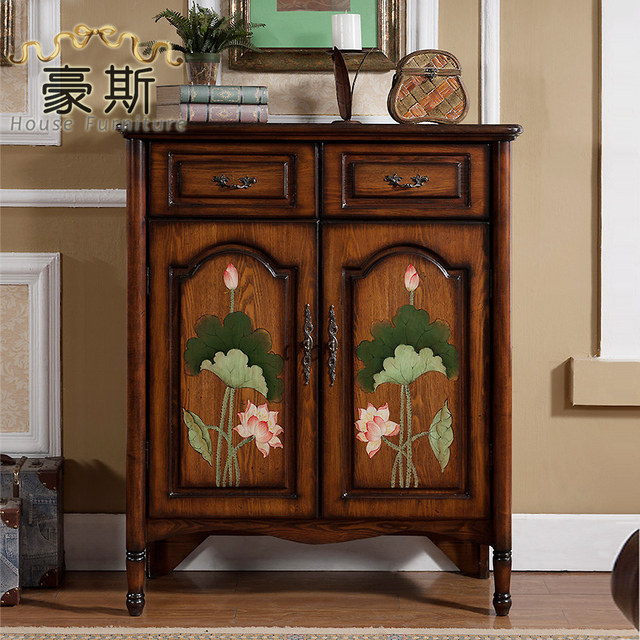 New Chinese Lotus Foyer Entrance Cabinet Shoe Storage Lockers Doumen Sideboard Living Room