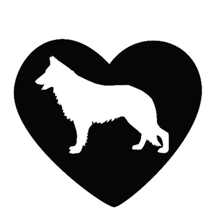 12x13cm Heart German Shepherd With Heart Car Stickers Waterproof Decals Car Styling Accessories Window Decor Black/white Cl001 Good Heat Preservation
