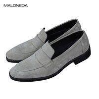 MALONEDA/100% Брендовые мужские лоферы из натуральной кожи ручной работы, из коровьей замши, без шнуровки, серая повседневная обувь с Goodyear ручной