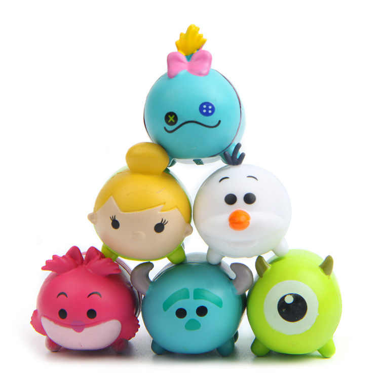 Tsum Tsum Mini 6pcs Figures Mike Tinker Bell Cheshire Cat Cute Plastic Doll  Toy Juguetes For Chirldren Christmas Gift