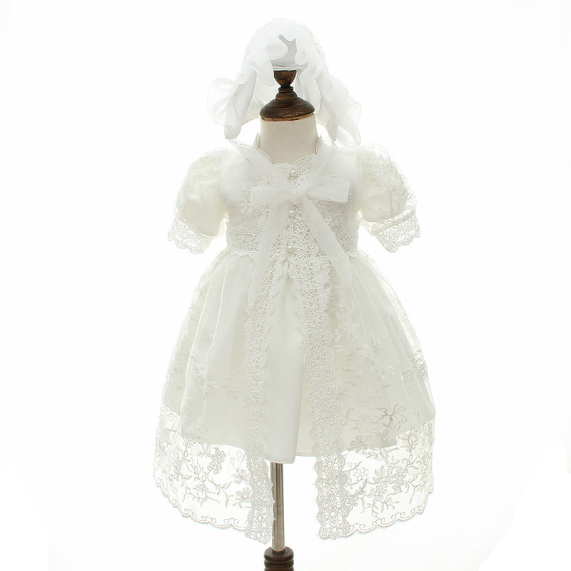 Newborn Baby Girl Dress Christening Gown White Flowers First 1st Birthday Party Kids Girls Princess Infant Party Dresses Costume winter baby girl christening gown infant princess dress 1st birthday outfits children kids party wear dress girl formal vestido