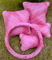 One set car headrest summer hand woven car pillow neck cute female fashion pillow four piece M 38CM
