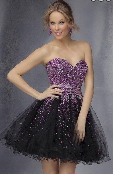 Venta caliente vestidos de fiesta de tul negro púrpura con cuentas de cristal de