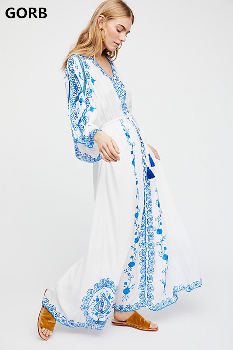 9e9a8cff53f74 Jastie Flower Embroidered Women Dress Batwing Sleeve Loose Maxi ...