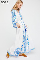GORB 2019 Newest Ethnic Style Blue White Print embroidery Mexican Boho Long Dresses Women Hippie Chic Long Sleeve Loose Dress