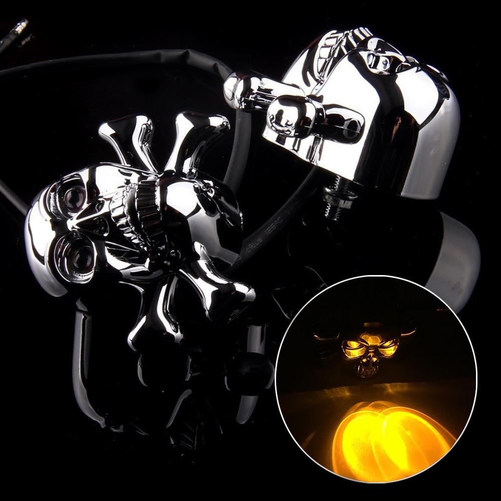 2PCS Skull Head Motorcycle Chrome LED Turn Signals Light Indicator Flasher Lamp Moto Scooter For Honda Yamaha Harley Chopper