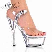 Sexy 15cm High-heeled Sandals Pole Dancing Model High Heels 6 Inch Dress Buckle Strap Platform Nightclub Clear Dance Shoes