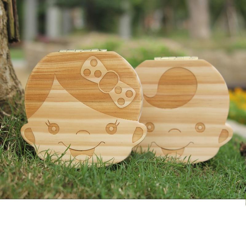 Ularma Colorido Caja de almacenaje de madera guardar los dientes de leche para ni/ños chica Ingl/és