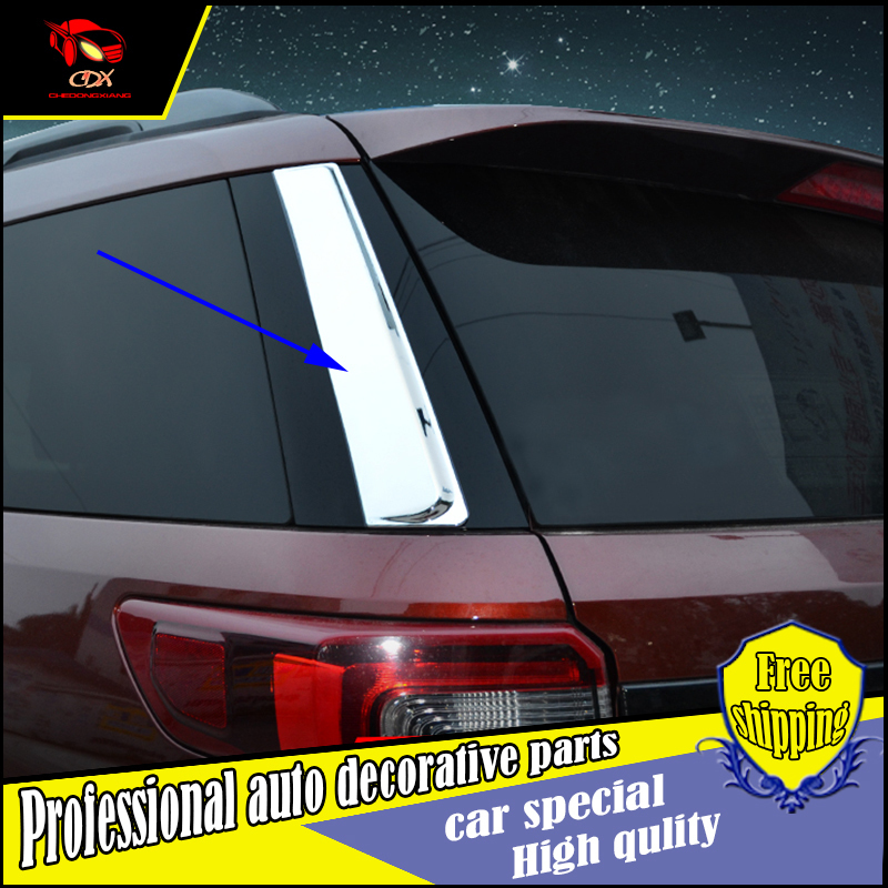2PCS Car Styling ABS Chrome Rear Window Side Wing Cover Sticker For Ford Explorer 2016 Exterior Decoration stickers Accessories 2pcs chrome abs rear back window wiper cover trims for bmw x3 f25 2011 2015 car styling accessories