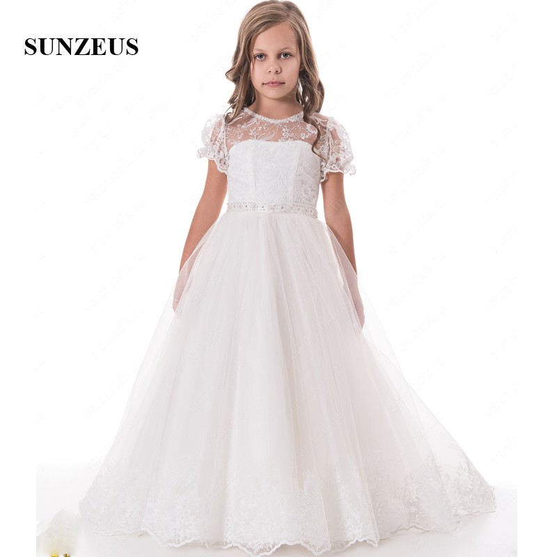 Lace Short Sleeve Flower Girls Dresses Long Children Graduation Gowns Back Bow  Ivory Girls Party Dress  Vestido Infantil S1506