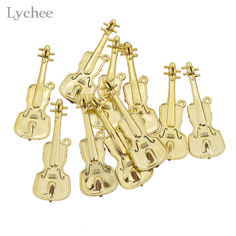 Lychee 10pcsLot Plastic Mini Musical Instruments Pendants Christmas Tree Hanging Ornament for DIY Jewelry Making