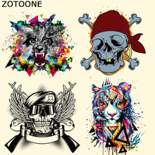 ZOTOONE Iron on Transfer Patches for Clothes Colorful Tiger Skull Decoration DIY Stripes Applique T-shirt Custom Patch Stickers