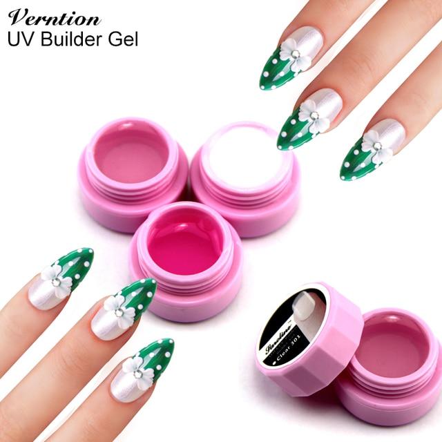 Most Popular 3d Gel Nail Polish Pink White Clear Transparent 3 Color Options UV Builder
